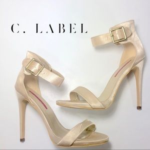 Gorgeous gentle soft golden satin heels 7.5